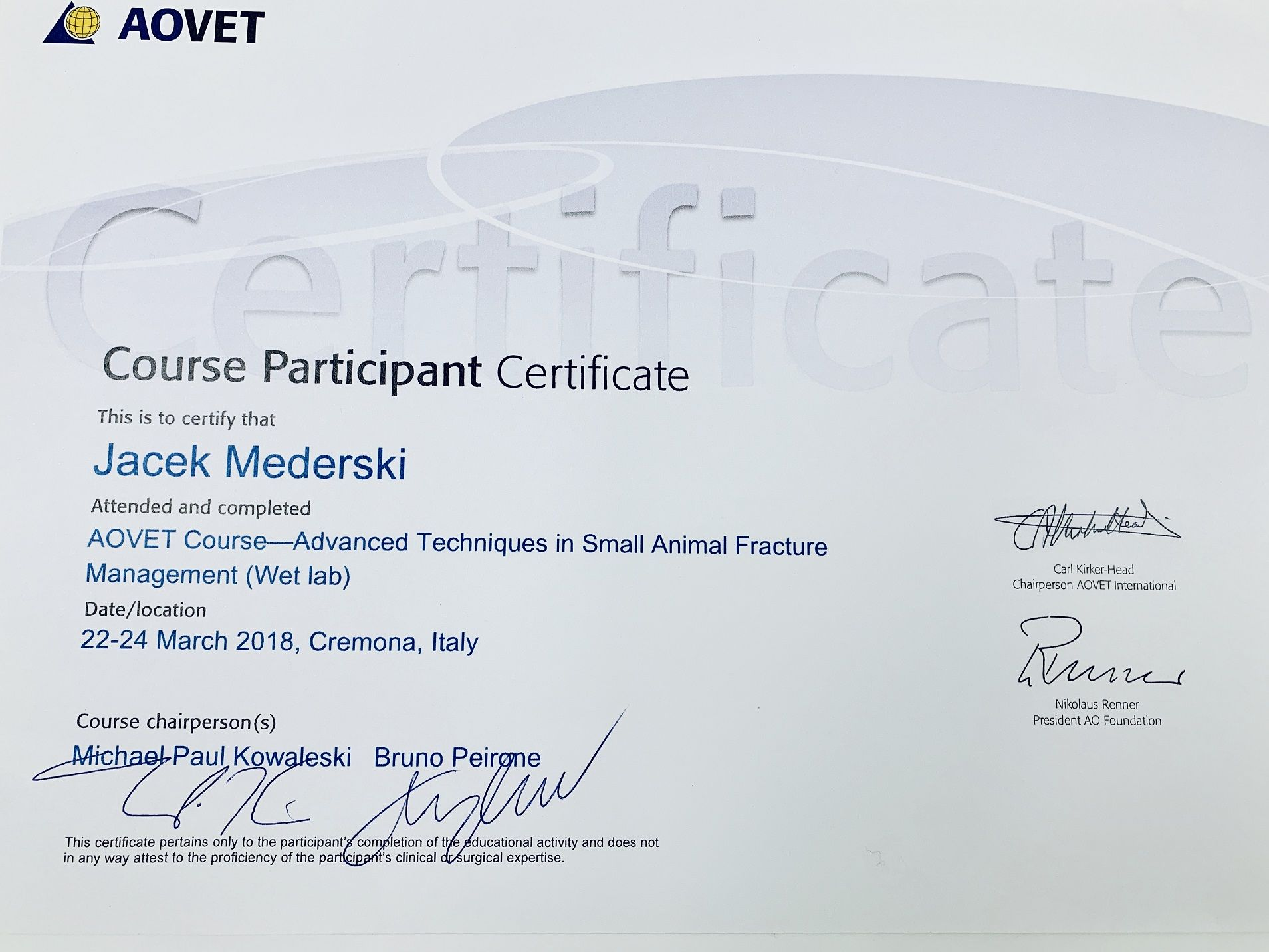 AOVET Course-Advanced Techinques in Small Animal Fracture Management (Wet lab) - Cremona